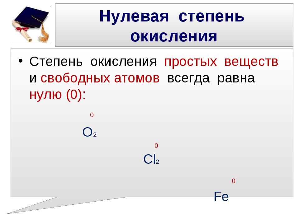 Нулевая степень окисления Степень окисления простых веществ и свободных атомо...