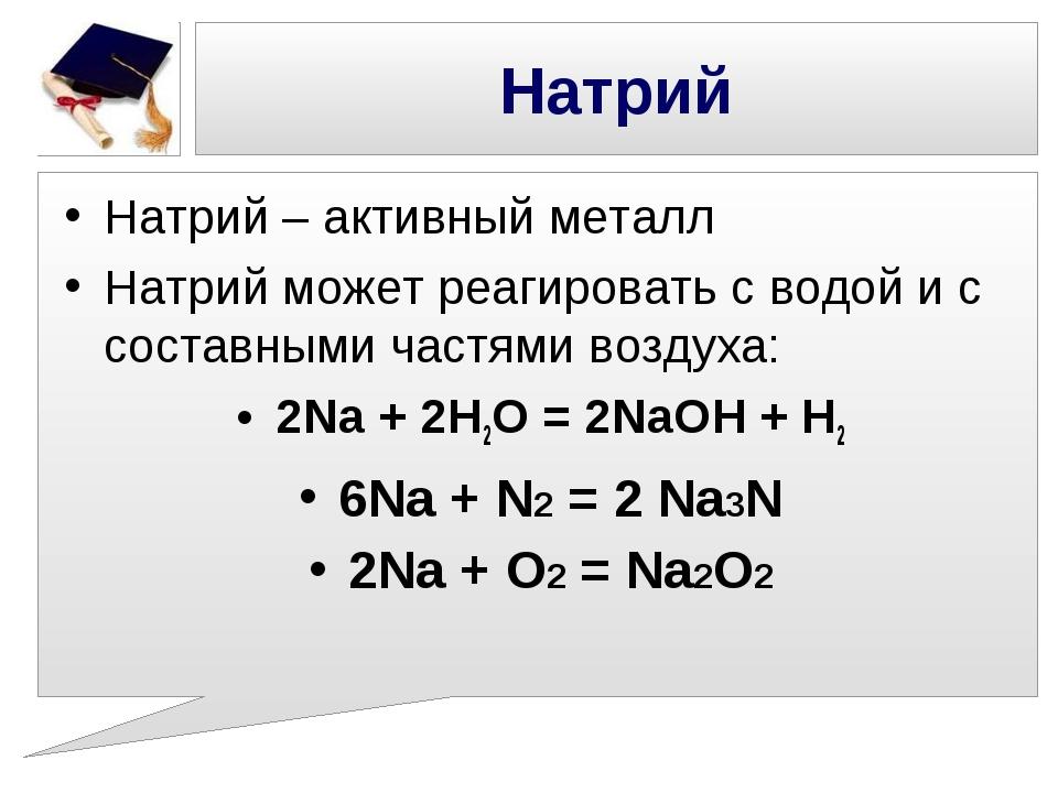 Натрий Натрий – активный металл Натрий может реагировать с водой и с составны...