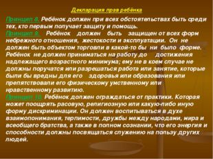 Декларация прав ребёнка Принцип 8.Ребёнок должен при всех обстоятельствах бы