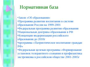 Закон «Об образовании» Программа развития воспитания в системе образования Ро