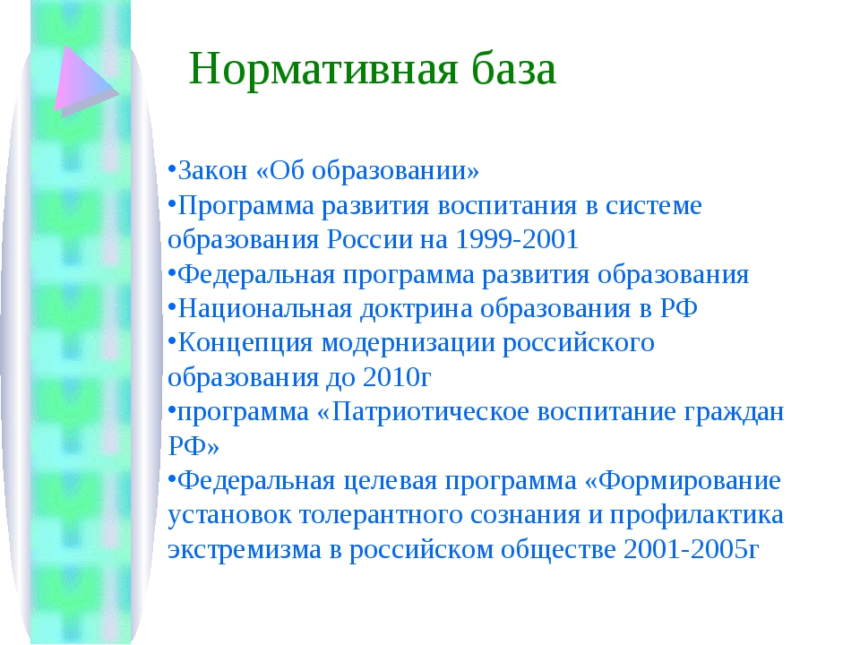 Закон «Об образовании» Программа развития воспитания в системе образования Ро...