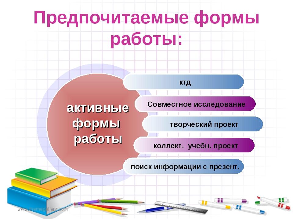 www.themegallery.com Предпочитаемые формы работы: ктд Совместное исследование...