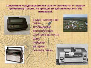 Современные радиоприёмники сильно отличаются от первых приёмников Попова. Но