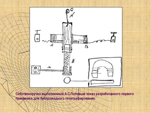 Собственоручно выполненный А.С.Поповым эскиз разработанного первого приемника...