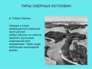 ТИПЫ ОЗЕРНЫХ КОТЛОВИН Д. Озера-старицы. Нередко в озера превращаются отдельны