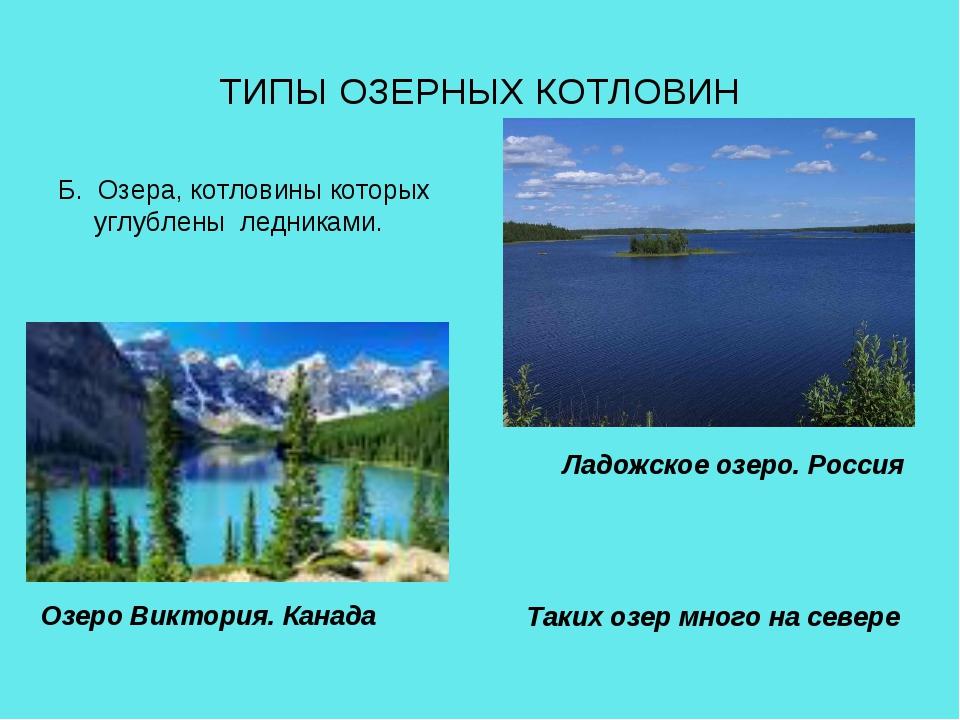 ТИПЫ ОЗЕРНЫХ КОТЛОВИН Б. Озера, котловины которых углублены ледниками. Таких...