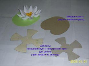 Шаблон «лист» (картон зелёного цвета) Шаблоны «внешний круг» и «внутренний к