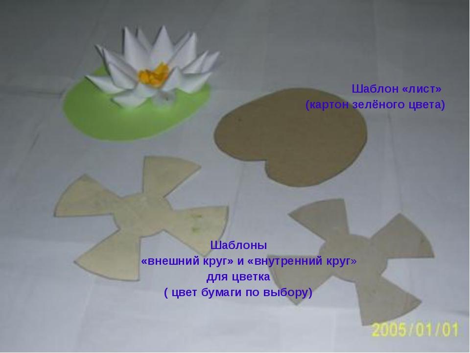 Шаблон «лист» (картон зелёного цвета) Шаблоны «внешний круг» и «внутренний к...