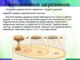 Радиоактивное загрязнение Источники радиоактивного заражения - продукты делен