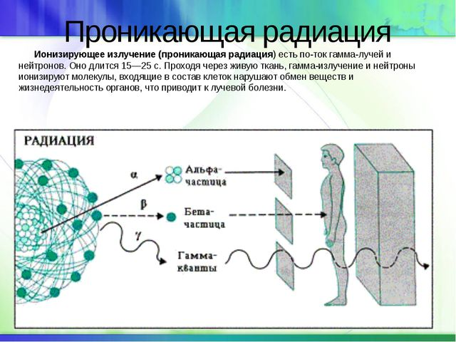 Проникающая радиация Ионизирующее излучение (проникающая радиация) есть пото...