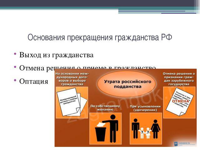 Основания прекращения гражданства РФ Выход из гражданства Отмена решения о пр...