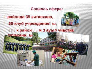 Социаль сфера: районда 35 китапхана, 69 клуб учреждениеһы, үҙәк район һәм 3 а