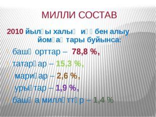 МИЛЛИ СОСТАВ 2010 йылғы халыҡ иҫәбен алыу йомғаҡтары буйынса: башҡорттар– 7