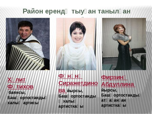 Район ерендә тыуған танылған кешеләр Хәлит Фәтихов баянсы, Башҡортостандың...