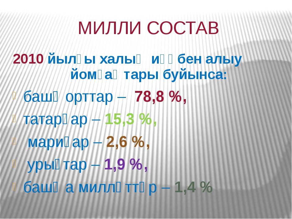 МИЛЛИ СОСТАВ 2010 йылғы халыҡ иҫәбен алыу йомғаҡтары буйынса: башҡорттар– 7...
