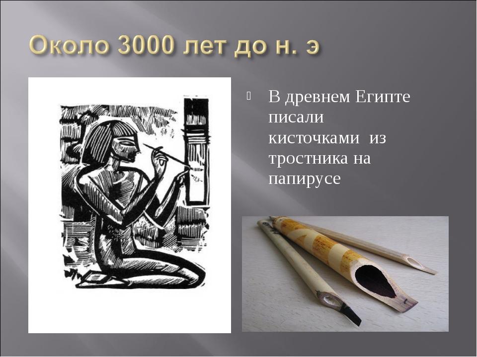 В древнем Египте писали кисточками из тростника на папирусе