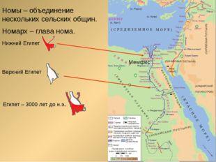 Номы – объединение нескольких сельских общин. Номарх – глава нома. Нижний Еги
