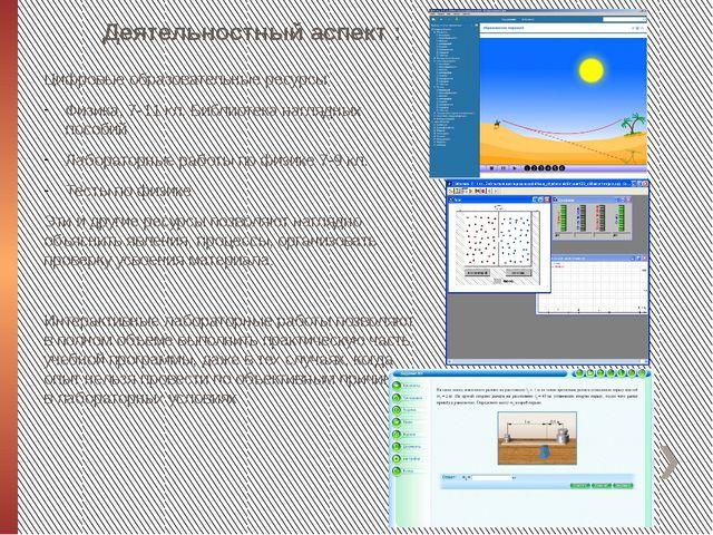 Деятельностный аспект : Цифровые образовательные ресурсы Физика, 7-11 кл. Биб...