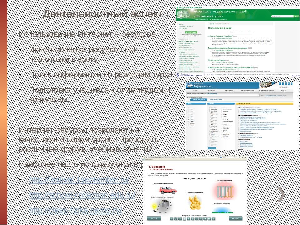 Деятельностный аспект : Использование Интернет – ресурсов Использование ресур...