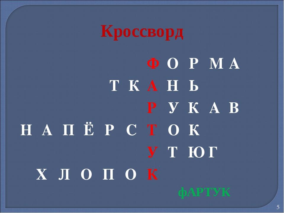 * Кроссворд фАРТУК ФОРМА ТКАНЬ РУКАВ НАПЁРСТОК УТЮГ Х...
