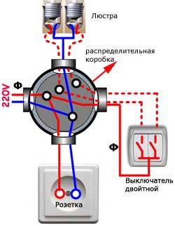 схема как подключить люстру через двойной выключатель