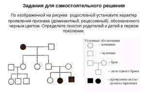 Задания для самостоятельного решения По изображенной на рисунке родословной у