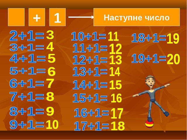 + 1 Наступне число