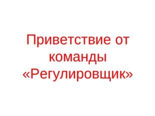 Приветствие от команды «Регулировщик»
