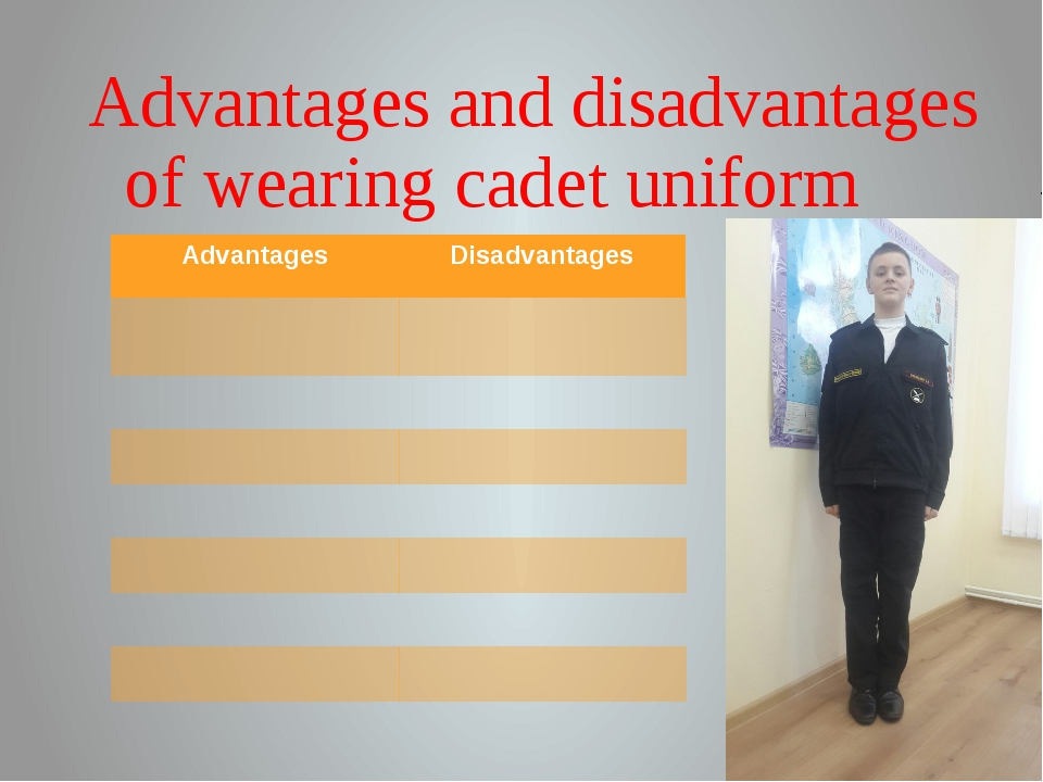Advantages and disadvantages of wearing cadet uniform Advantages Disadvantages