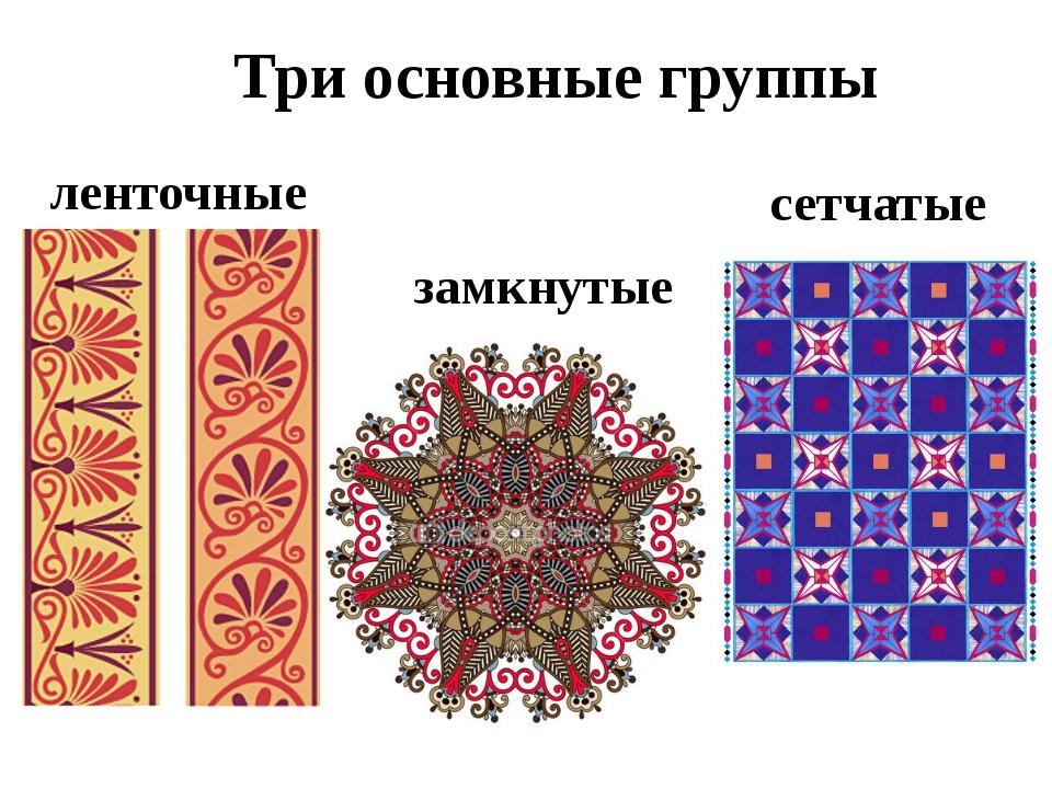 Три основные группы замкнутые ленточные сетчатые