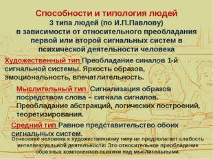 Способности и типология людей 3 типа людей (по И.П.Павлову) в зависимости от
