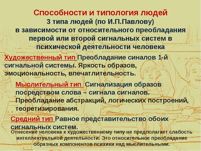 Способности и типология людей 3 типа людей (по И.П.Павлову) в зависимости от...