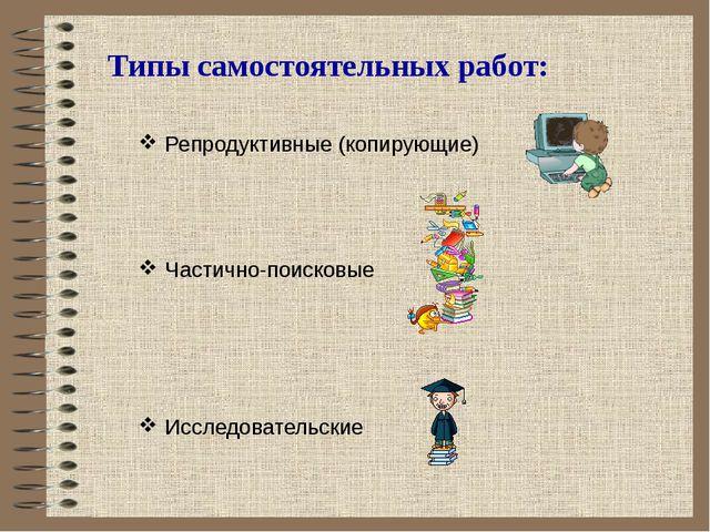 Репродуктивные (копирующие) Частично-поисковые Исследовательские Типы самосто...