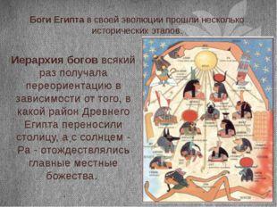 Боги Египта в своей эволюции прошли несколько исторических этапов. Иерархия б