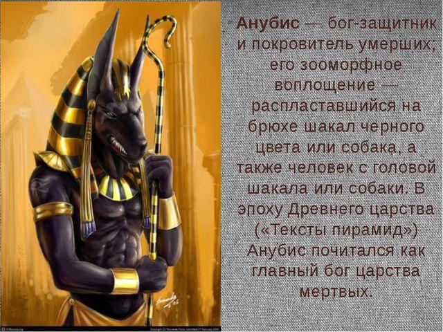 Анубис — бог-защитник и покровитель умерших; его зооморфное воплощение — расп...