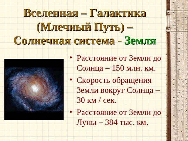 Вселенная – Галактика (Млечный Путь) – Солнечная система - Земля Расстояние о...