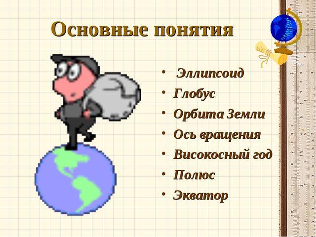Основные понятия Эллипсоид Глобус Орбита Земли Ось вращения Високосный год По...