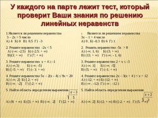 У каждого на парте лежит тест, который проверит Ваши знания по решению линейн