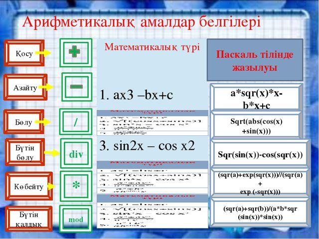 Арифметикалық амалдар белгілері a*sqr(x)*x-b*x+c Sqrt(abs(cos(x)+sin(x))) Sqr...
