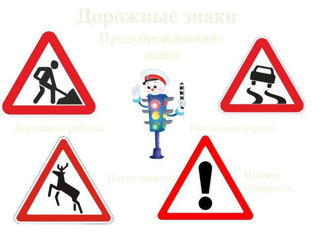 Дорожные знаки Дорожные работы Скользкая дорога Дикие животные Прочие опаснос...