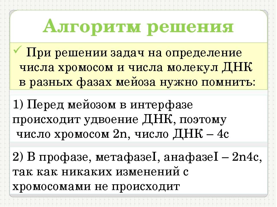 Алгоритм решения задач При решении задач на определение числа хромосом и числ...