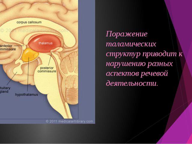 Поражение таламических структур приводит к нарушению разных аспектов речевой...