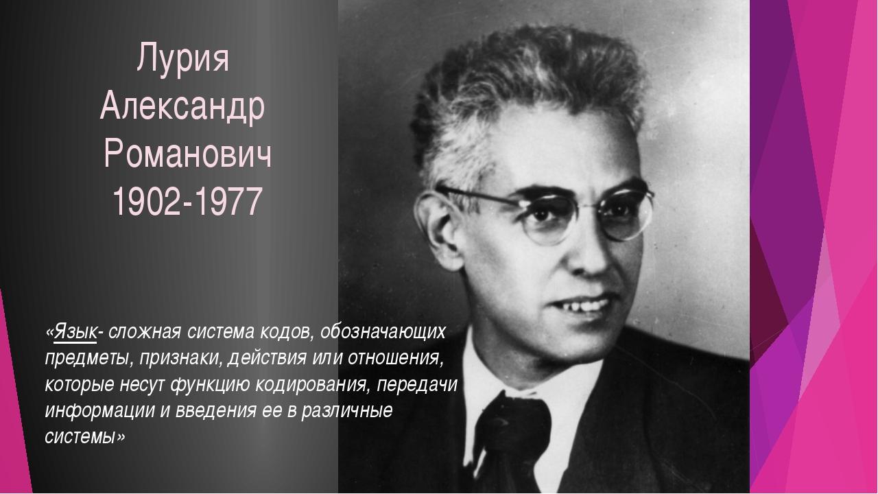 Лурия Александр Романович 1902-1977 «Язык- сложная система кодов, обозначающи...