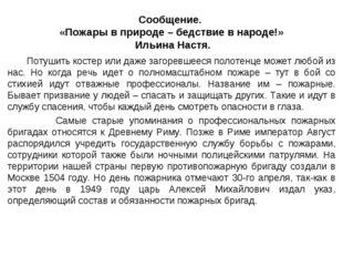 Сообщение. «Пожары в природе – бедствие в народе!» Ильина Настя. Потушить кос
