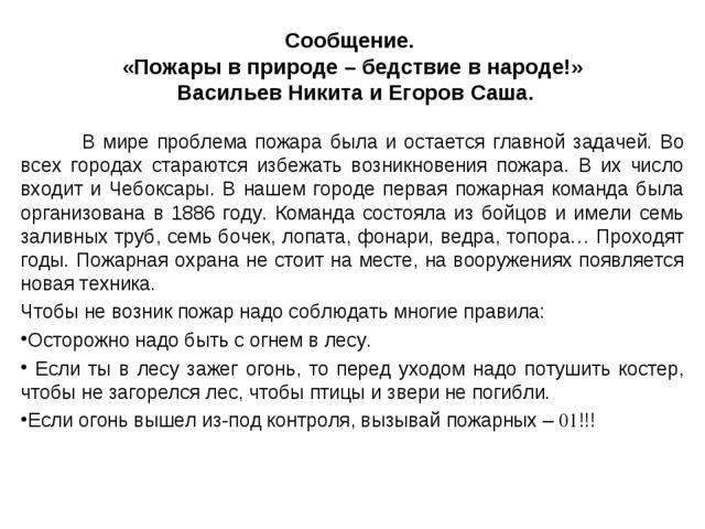 Сообщение. «Пожары в природе – бедствие в народе!» Васильев Никита и Егоров С...