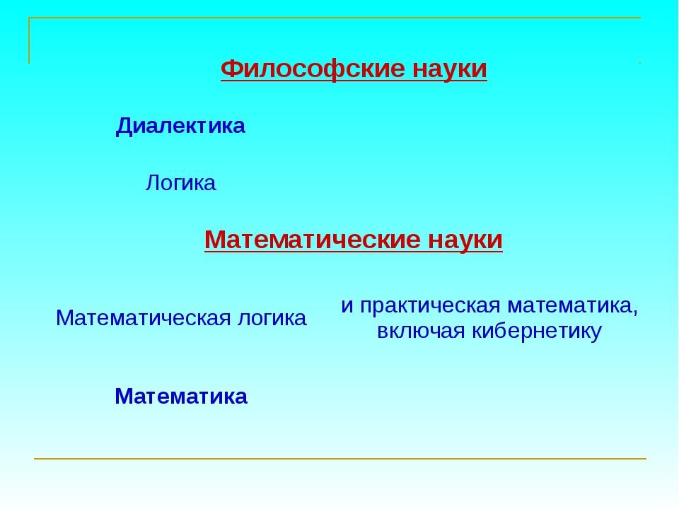 Философские науки Диалектика Логика Математические науки Математическая л...