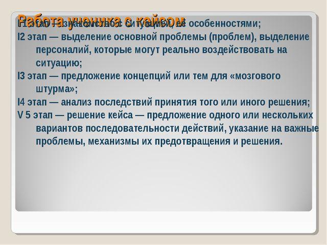 Работа ученика с кейсом I 1 этап — знакомство с ситуацией, её особенностями;...