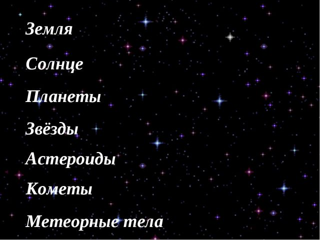 Земля Солнце Планеты Звёзды Астероиды Кометы Метеорные тела