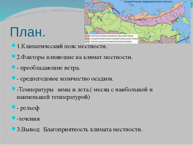 План. 1.Климатический пояс местности. 2.Факторы влияющие на климат местности....