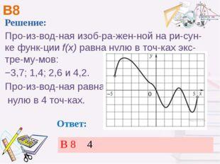 В8 Ответ: Решение: Производная изображенной на рисунке функцииf(x)